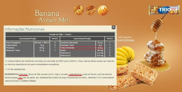 Informações retiradas do site. Em destaque, os açúcares e a quantidade de fibras presentes na barra de cereal Trio.